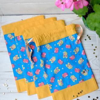Эко мешочек с совами, эко торбочка, мешочек для хранения, для продуктов, 11 еко мішечки