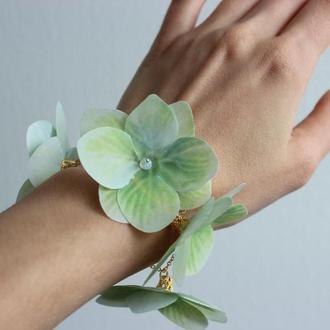 Свадебный браслет для невесты с цветами Браслет с гортензией для подружек невесты