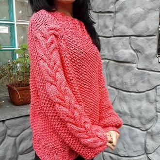 Свитер женский вязаный цвет лосося, свитер с косами, оверсайз