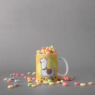 """Чашка с принтом """"Счастливая лама"""""""