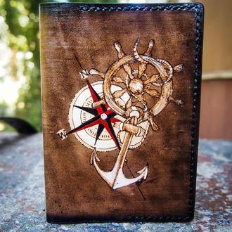 Обложка на паспорт мужская, кожаная обложка компас, подарок моряку, морская обложка для паспорта