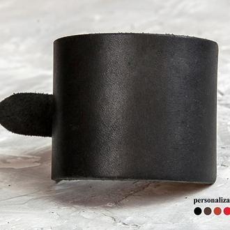 Черный сплошной широкий кожаный браслет код 6310