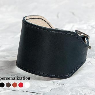 Черный широкий прошитый кожаный браслет код 6320ст