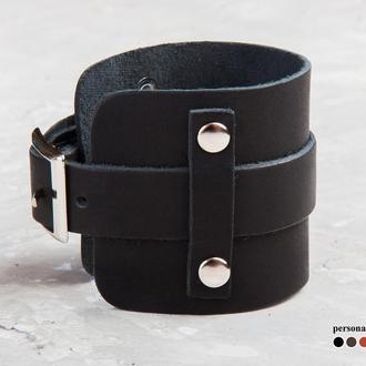 Черный широкий кожаный браслет с тонкой полосой и металлическими вставками код 6330