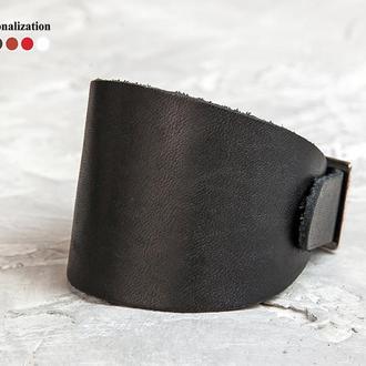 Черный расширенный кожаный браслет код 6345