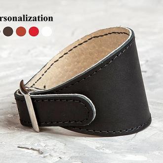 Черный прошитый расширенный кожаный браслет код 6345ст