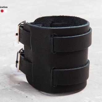 Черный широкий стильный кожаный браслет с двумя узкими полосами код 6400