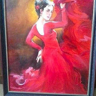 "Картина маслом ""Танец"" 60х70, оформлена в раму"