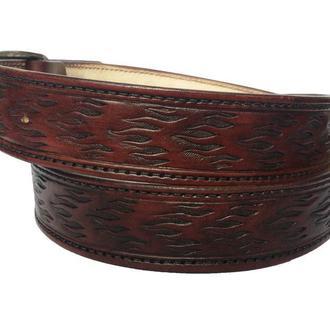 Кожаный ремень цвета махагон «Пламя» (12 цветов)