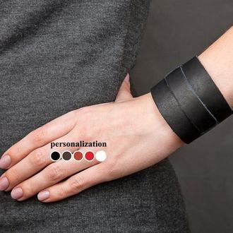 Черный широкий стильный кожаный браслет с тонкой полосой код 6500