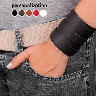 Черный широкий изящный кожаный браслет с тремя кожаными полосами код 6800