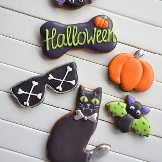 """Набор к Хеллоуину №6 """"Кошки-мышки"""", пряники на Хэллоуин, хэллоунские пряники, пряники на Хеллоуин"""