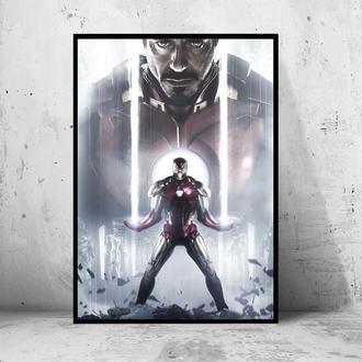 """Постер на ПВХ 3 мм. в раме """"Iron Man"""" (Железный Человек / Тони Старк / Tony Stark) #1"""