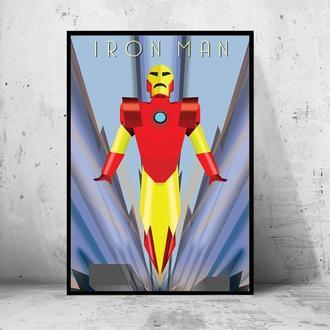 """Постер на ПВХ 3 мм. в раме """"Iron Man"""" (Железный Человек / Тони Старк / Tony Stark) #2"""