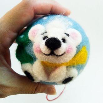 Украшение на ёлку валяный шар  Ялинкова прикраса валяна куля Валяный мишка Валяний ведмедик