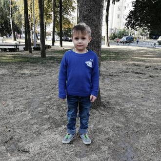 Хлопковый синий свитер с боковой застежкой. Свитер для мальчика. Размер 110