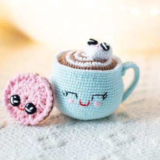 Чашечка какао с зефиркой и печенюшкой , вязаные игрушки крючком , амигуруми