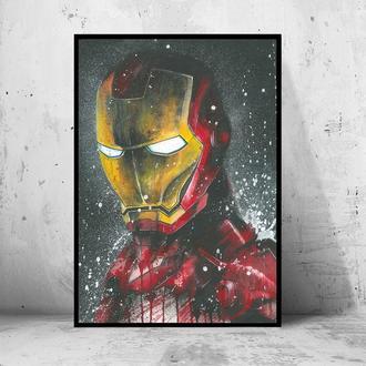 """Постер на ПВХ 3 мм. в раме """"Iron Man"""" (Железный Человек / Тони Старк / Tony Stark) #5"""