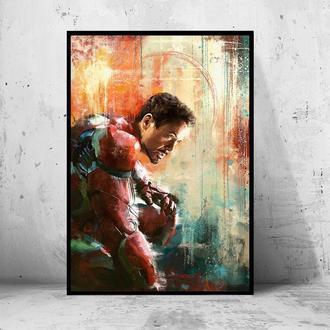 """Постер на ПВХ 3 мм. в раме """"Iron Man"""" (Железный Человек / Тони Старк / Tony Stark) #6"""