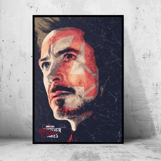 """Постер на ПВХ 3 мм. в раме """"Iron Man"""" (Железный Человек / Тони Старк / Tony Stark) #8"""