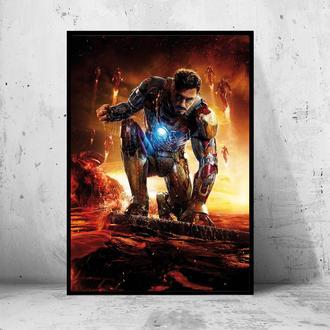 """Постер на ПВХ 3 мм. в раме """"Iron Man"""" (Железный Человек / Тони Старк / Tony Stark) #10"""