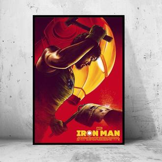 """Постер на ПВХ 3 мм. в раме """"Iron Man Pop-Art"""" (Железный Человек / Тони Старк / Tony Stark) #22"""