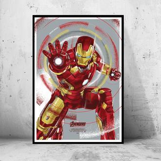 """Постер на ПВХ 3 мм. в раме """"Iron Man"""" (Железный Человек / Тони Старк / Tony Stark) #27"""