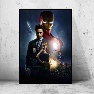 """Постер на ПВХ 3 мм. в раме """"Iron Man"""" (Железный Человек / Тони Старк / Tony Stark) #28"""