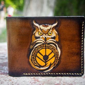 Кошелек с совой, женский кожаный кошелек, кожаный кошелек, сова на кошельке, коричневый кошелек