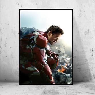 """Постер на ПВХ 3 мм. в раме """"Iron Man"""" (Железный Человек / Тони Старк / Tony Stark) #32"""