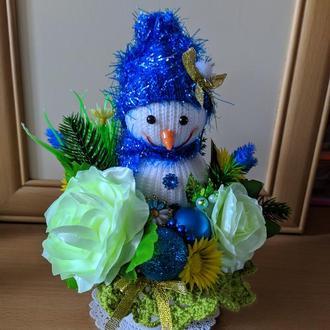 "Интерьерный ""Снеговичок"" сине-жёлтый"