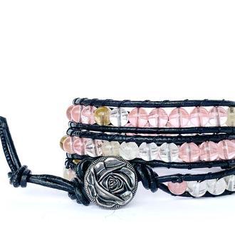 Спиральный браслет  чан лу chan luu из натуральных камней. кварц