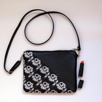 Черный клатч с ручной вышивкой розами, Эко кожа, Маленькая сумка через плечо
