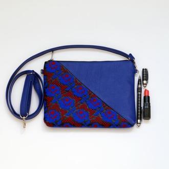 Синий клатч с  вышивкой розами, Эко кожа, Маленькая сумка через плечо