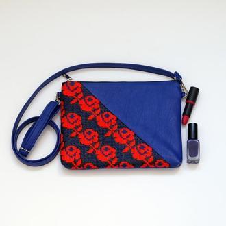 Синий клатч с ручной вышивкой розами, Эко кожа, Маленькая сумка через плечо