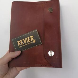 Датированный блокнот в кожаной обложке ручной работы из натуральной кожи Revier коричневого цвета