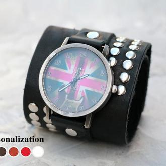 Широкий кожаный ремешок для часов с заклепками, код 5070