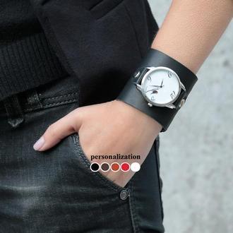 Широкий кожаный ремешок для часов, код 5200