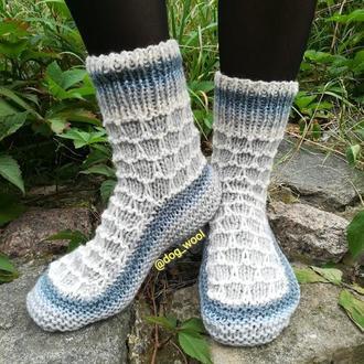 Носки из натуральной овечьей шерсти шкарпетки носочки вязаные подарок шерстяные