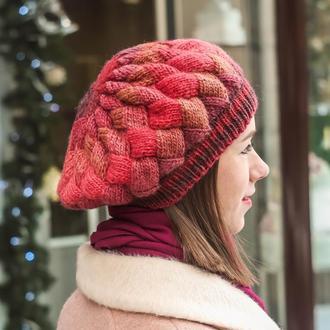 Красный вязаный берет, теплая зимняя шапка из шерсти