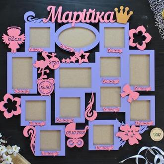 """Детская фоторамка - метрика """"Первый годик"""", Марiйка, сиренево-розовый цвет, из дерева"""