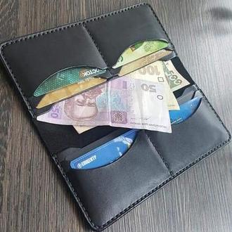 Чёрный кожаный портмоне