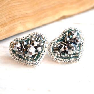 Сережки сердечки, Сережки сріблясті, Вишиті сережки, Сережки цвяшки, Вишиті пусети