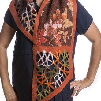 Оранжевый шарф из шерсти мериноса
