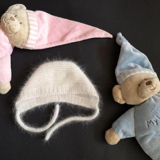 Чепчик для новорожденного, шапка для малыша, шапочка ангора для новорожденного