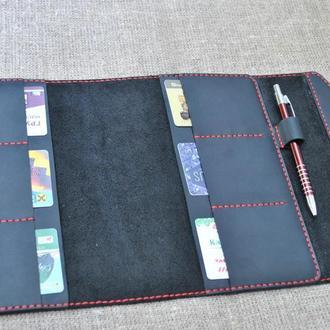 Черная обложка для ежедневника 5 формата из кожи B14-0+red