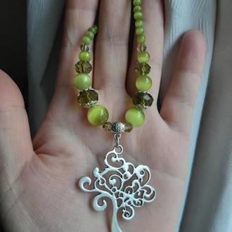 Комплект украшений из бусин оливкового цвета, подвеска Дерево жизни, серебряные серьги с кристаллами