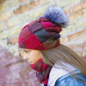 Зимний комплект: Двуслойная Шапка - бини с помпоном из натурального меха, Двуслойный Снуд