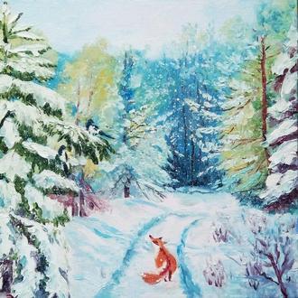 Картина Лиса и сороки, для детей.
