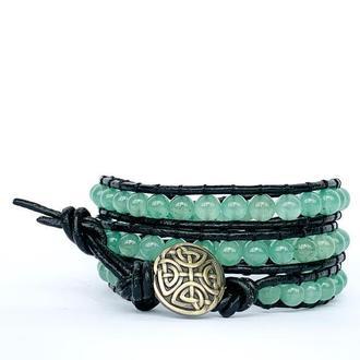 Спиральный браслет  чан лу chan luu из натуральных камней. зеленый авантюрин